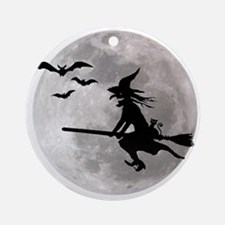 Halloween witch with a cat flies on Round Ornament