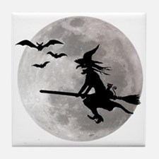 Halloween witch with a cat flies on t Tile Coaster