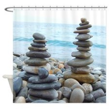 Zen Beach Pebble Towers Shower Curtain