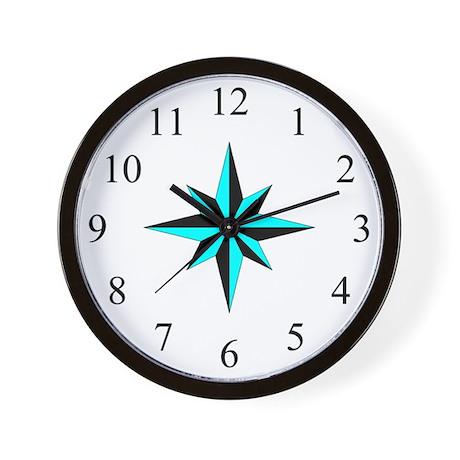 Wall Clock - Compass Rose - Cyan