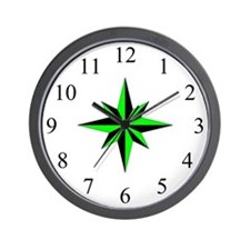 Wall Clock - Compass Rose - Lime