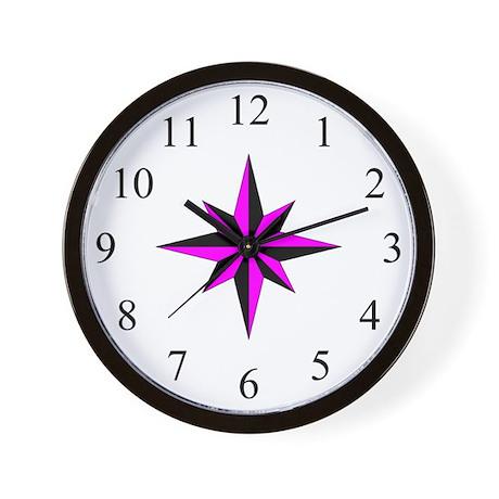Wall Clock - Compass Rose - Magenta
