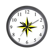 Wall Clock - Compass Rose - Yellow