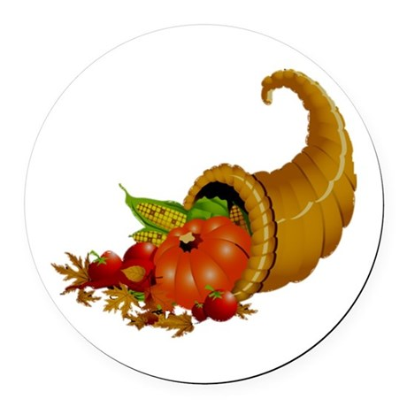Horn of Pleanty Round Car Magnet