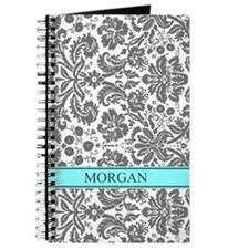 Aqua Grey Damask Custom Name Journal