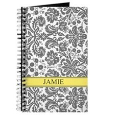 Yellow Grey Damask Custom Name Journal