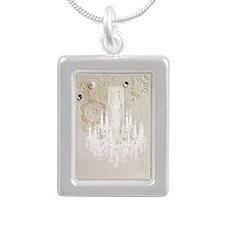 elegant chandelier flora Silver Portrait Necklace