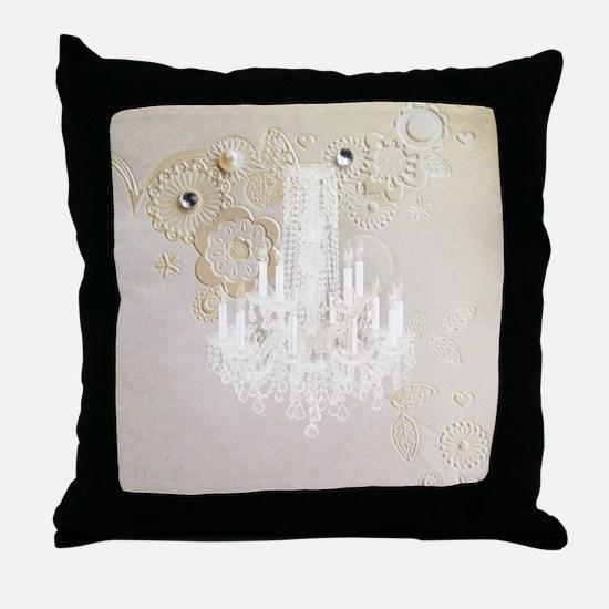 elegant chandelier floral paris Throw Pillow