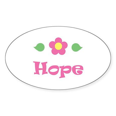 "Pink Daisy - ""Hope"" Oval Sticker"