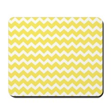 Yellow White Chevron Pattern Mousepad