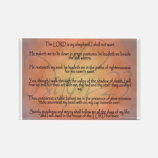 Psalm 23 Orange Script Rectangle Magnet