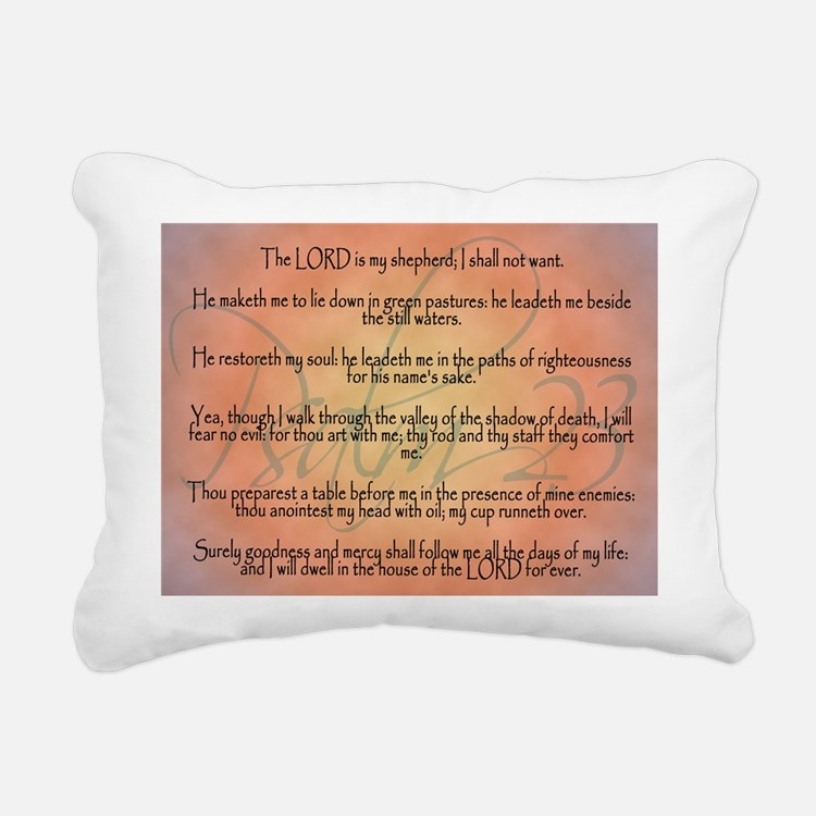 Psalm 23 Orange Script Rectangular Canvas Pillow