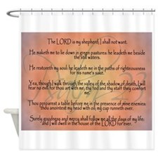 Psalm 23 Orange Script Shower Curtain