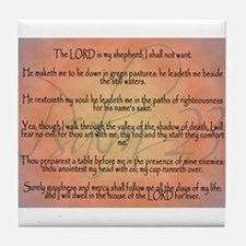 Psalm 23 Orange Script Tile Coaster