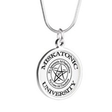 Miskatonic University Silver Round Necklace