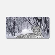 White Bengal Tiger Aluminum License Plate