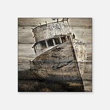 """rustic boat nautical barn w Square Sticker 3"""" x 3"""""""