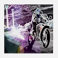 modern sporty motocycle racer Tile Coaster