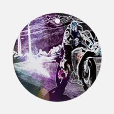 modern sporty motocycle racer Round Ornament