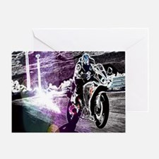 modern sporty motocycle racer Greeting Card
