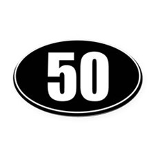 50 mile black oval sticker decal Oval Car Magnet