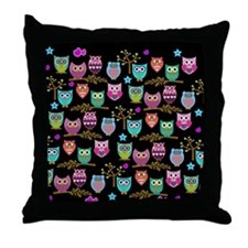 Cute Retro owl Throw Pillow