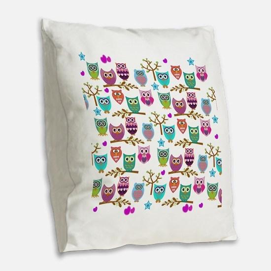 Cute Owl Burlap Throw Pillow