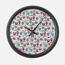 Funny Retro owl Large Wall Clock