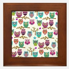 Cute Retro owl Framed Tile