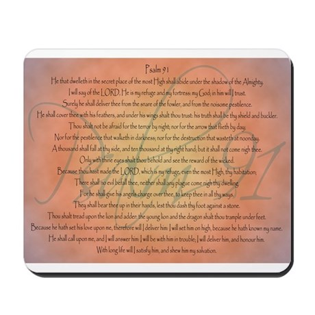 Psalm 91 Orange Script Mousepad