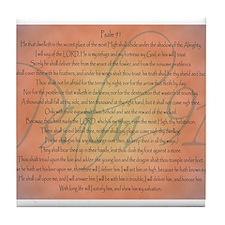 Psalm 91 Orange Script Tile Coaster
