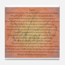 Psalm 91 Orange Script Tile Coaster