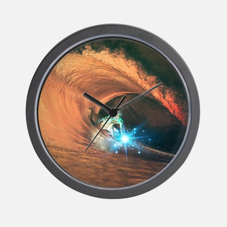 cool sporty surfer  Wall Clock