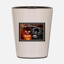 Happy Halloween pug dog Shot Glass