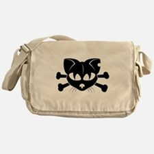 Cat And Crossbones Messenger Bag