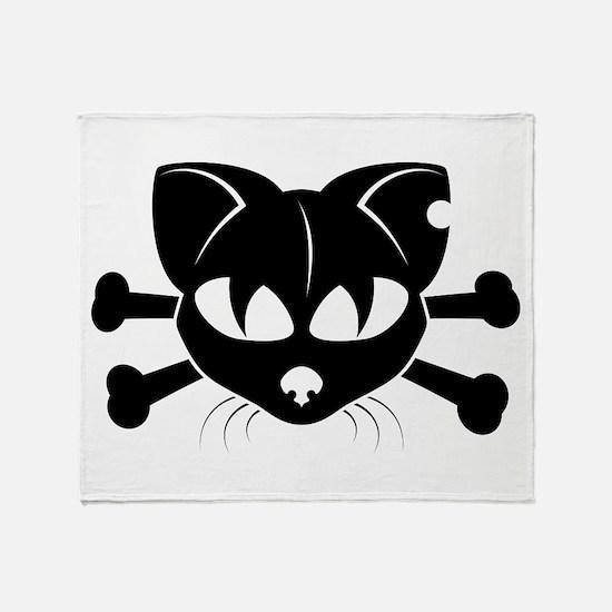 Cat And Crossbones Throw Blanket