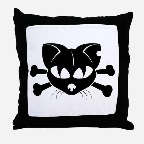 Cat And Crossbones Throw Pillow
