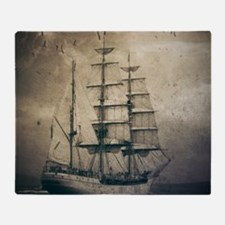 vintage pirate ship landscape Throw Blanket