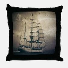 vintage pirate ship landscape Throw Pillow