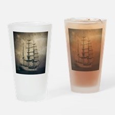 vintage pirate ship landscape Drinking Glass