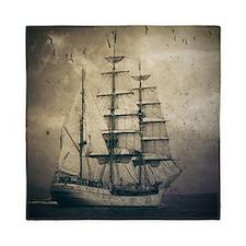 vintage pirate ship landscape Queen Duvet
