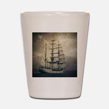 vintage pirate ship landscape Shot Glass