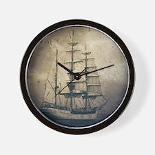 vintage pirate ship landscape Wall Clock