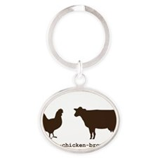 Brown-Chick-Cow Oval Keychain