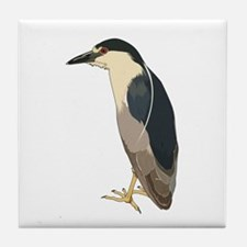 Black Crowned Night Heron Tile Coaster