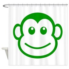 Green Monkey Face Shower Curtain