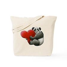Panda Hugging a Heart Tote Bag