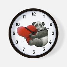 Panda Hugging a Heart Wall Clock