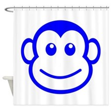 Blue Monkey Face Shower Curtain