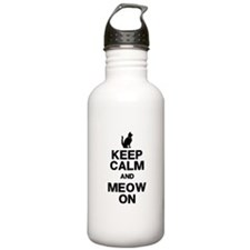Keep Calm Meow On Water Bottle